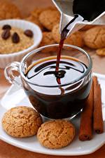 Обои Кофе Печенье Корица Чашка Еда фото