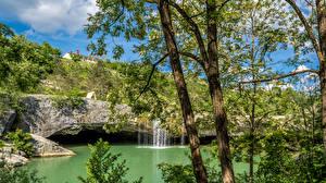 Картинка Хорватия Водопады Реки Ствол дерева Zarečki krov Природа