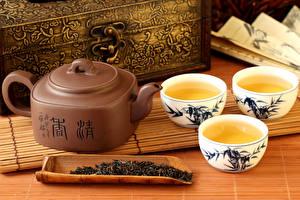 Обои Напитки Чай Чайник Чашка Трое 3 Еда фото