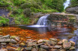Картинка Англия Водопады Камни HDR Anglezarke Природа