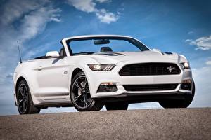 Обои Ford Белый Кабриолет 2015 California Special Convertible Mustang Автомобили фото
