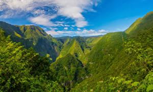 Фотографии Франция Горы Облака Reunion Природа