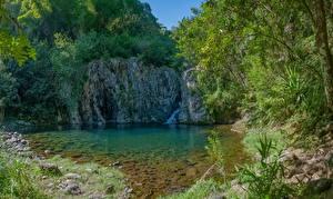 Фотографии Франция Водопады Вода Камни Утес Ste-Marie Reunion Природа