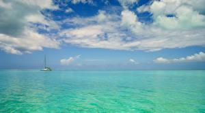 Обои Французская Полинезия Тропики Море Небо Бора-Бора Облака Природа фото