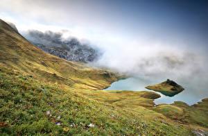 Картинки Германия Озеро Берег Альпы Туман lake Schrecksee