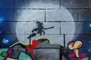 Картинка Граффити Ведьма Тень Стены