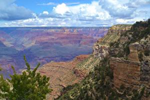 Фото Гранд-Каньон парк США Парки Облака Скала