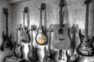 Картинка Гитара Стенка Черно белое