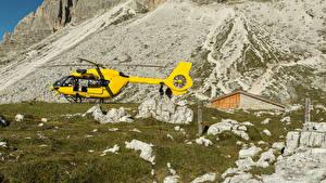 Фотографии Вертолеты Камни Желтый