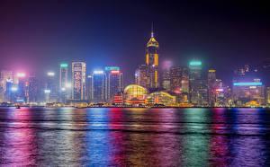 Обои Гонконг Китай Дома Берег В ночи Города
