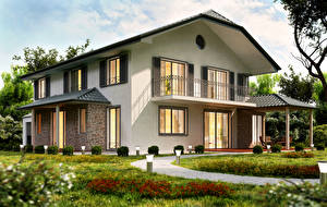 Фото Дома Особняк Дизайн Города 3D_Графика
