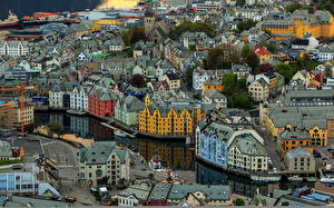 Обои Дома Норвегия Сверху Aksla Alesund Города фото