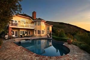 Картинка Дома Америка Вечер Особняк Дизайна Бассейны Laguna Beach