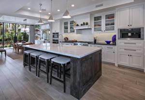 Обои Интерьер Дизайн Кухня Стол Лампа фото