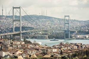 Фотография Стамбул Турция Дома Река Мосты Города