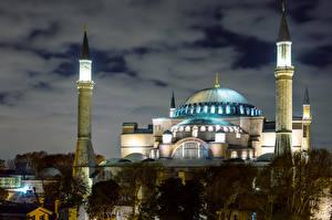 Фото Стамбул Турция Храмы Мечеть Ночь город