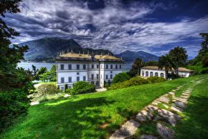 Обои Италия Дома Трава Облака HDR Bellagio Города фото