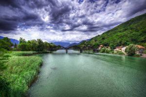 Картинка Италия Реки Мосты Небо Облака HDR Gera Lario Природа