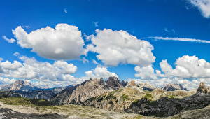 Картинка Италия Пейзаж Горы Небо Альпы Облака Dolomiti