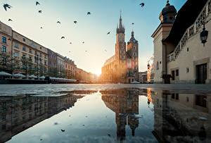 Обои Краков Польша Вечер Дома Вода Городская площадь Отражение Лужа Города
