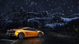 Фото Lamborghini Need for Speed Золотой Ночь Gallardo