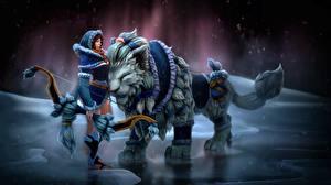 Картинка Волшебные животные DOTA 2 Mirana Лучники Игры Девушки Фэнтези