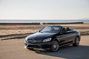 Картинка Mercedes-Benz Черные Кабриолет Металлик 2017 C 300 4MATIC AMG Line авто