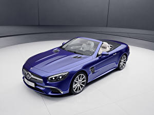 Фотографии Mercedes-Benz Синий Кабриолета Металлик 2017 SL-Klasse designo Edition машины