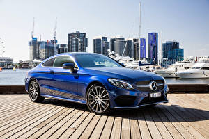 Обои Mercedes-Benz Синий Coupe C-Class AMG C205 Автомобили фото