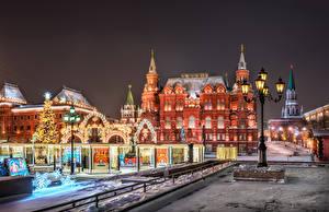 Обои Москва Россия Рождество Здания Городская площадь Ночные Уличные фонари Manezhnaya Square