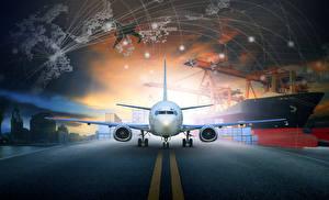 Картинка Самолеты Пассажирские Самолеты Ночь Асфальт