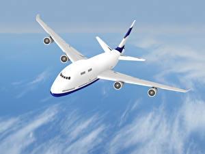 Картинки Самолеты Пассажирские Самолеты Небо Полет Авиация