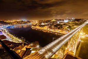 Обои Португалия Дома Реки Мосты Порту Ночь Города фото