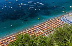 Обои Позитано Италия Побережье Пляж Сверху Природа
