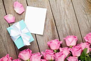 Фото Розы Доски Шаблон поздравительной открытки Розовый Лепестки Подарки Бантик Цветы