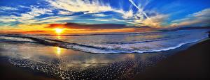 Обои Пейзаж Побережье Рассветы и закаты Волны Небо Облака Солнце Горизонт Природа фото