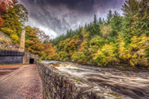 Фотографии Шотландия Осень Реки HDR New Lanark Природа