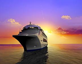 Картинки Корабли Круизный лайнер Море Рассветы и закаты Небо 3D Графика