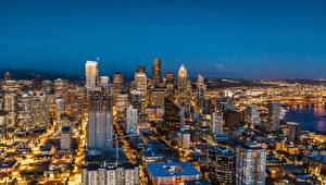 Фотография Небоскребы Дома Штаты Сиэтл Мегаполис Ночные