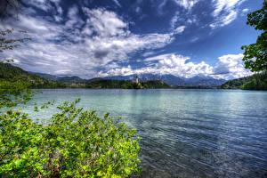 Картинки Словения Озеро Небо Облачно Lake Bled Природа