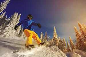 Фото Сноуборд Зимние Мужчины Снег Куртка Очки Спорт