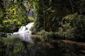 Фотографии Испания Парки Водопады Скала Zaragoza Природа