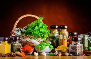 Фотография Натюрморт Пряности Овощи Чеснок Корзина Банке Еда