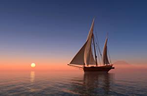 Обои Рассветы и закаты Море Парусные Корабли Солнце 3D Графика