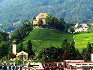 Обои Швейцария Дома Поля Montreux Города
