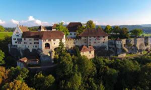 Обои Швейцария Дома Деревья Lenzburg Города фото