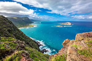 Фотографии Тропический Пейзаж Побережье Небо Океан Штаты Гавайские острова Облачно Утес Природа