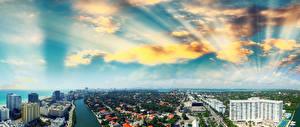 Обои США Дома Небо Побережье Майами Облака Города фото
