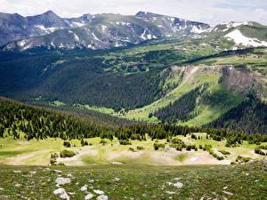Картинки Штаты Парк Гора Леса Пейзаж Rocky mountain national park