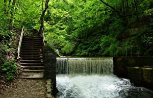 Обои США Парки Водопады Лестница Spring Mill State Park Природа фото